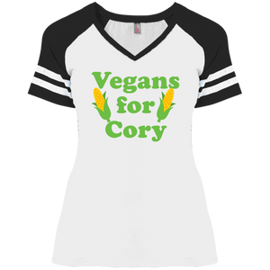 Vegans For Cory Fitted Short Sleeve V-Neck Game Day T-Shirt-T-Shirts-plussizefor