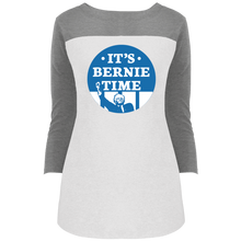 Load image into Gallery viewer, It's Bernie Time Fitted 3/4 Sleeve Colorblock Long Length T-Shirt-T-Shirts-plussizefor