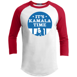 It's Kamala Time Classic Fit 3/4 Sleeve Colorblock T-Shirt-T-Shirts-plussizefor