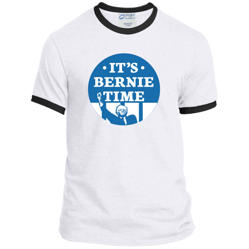 It's Bernie Time Classic Fit Ringer T-Shirt-T-Shirts-plussizefor
