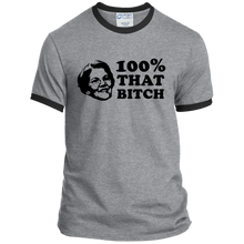 Load image into Gallery viewer, Elizabeth Warren Is 100% That B*tch Classic Fit Ringer T-Shirt-T-Shirts-plussizefor