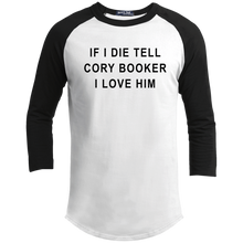 "Load image into Gallery viewer, ""If I Die, Tell Cory Booker I Love Him"" Classic Fit 3/4 Sleeve Colorblock T-Shirt-T-Shirts-plussizefor"