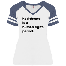 Load image into Gallery viewer, Healthcare Is A Human Right Fitted Short Sleeve V-Neck Game Day T-Shirt-T-Shirts-plussizefor