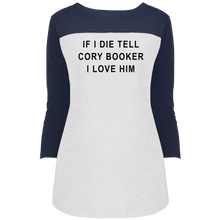 "Load image into Gallery viewer, ""If I Die, Tell Cory Booker I Love Him"" Fitted 3/4 Sleeve Colorblock Long Length T-Shirt-T-Shirts-plussizefor"