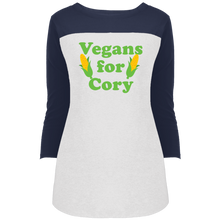 Load image into Gallery viewer, Vegans For Cory Fitted 3/4 Sleeve Colorblock Long Length T-Shirt-T-Shirts-plussizefor