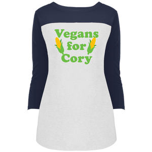 Vegans For Cory Fitted 3/4 Sleeve Colorblock Long Length T-Shirt-T-Shirts-plussizefor