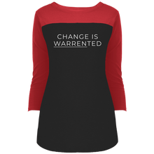 Load image into Gallery viewer, Change is Warrented Fitted 3/4 Sleeve Colorblock Long Length T-Shirt-T-Shirts-plussizefor