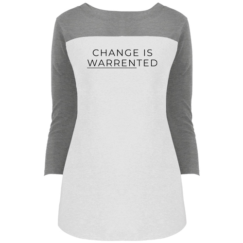 Change is Warrented Fitted 3/4 Sleeve Colorblock Long Length T-Shirt-T-Shirts-plussizefor