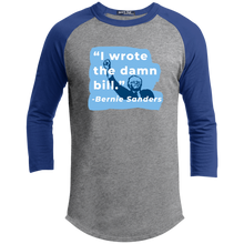"Load image into Gallery viewer, ""I Wrote the Damn Bill"" Classic Fit 3/4 Sleeve Colorblock T-Shirt-Shirts-plussizefor"