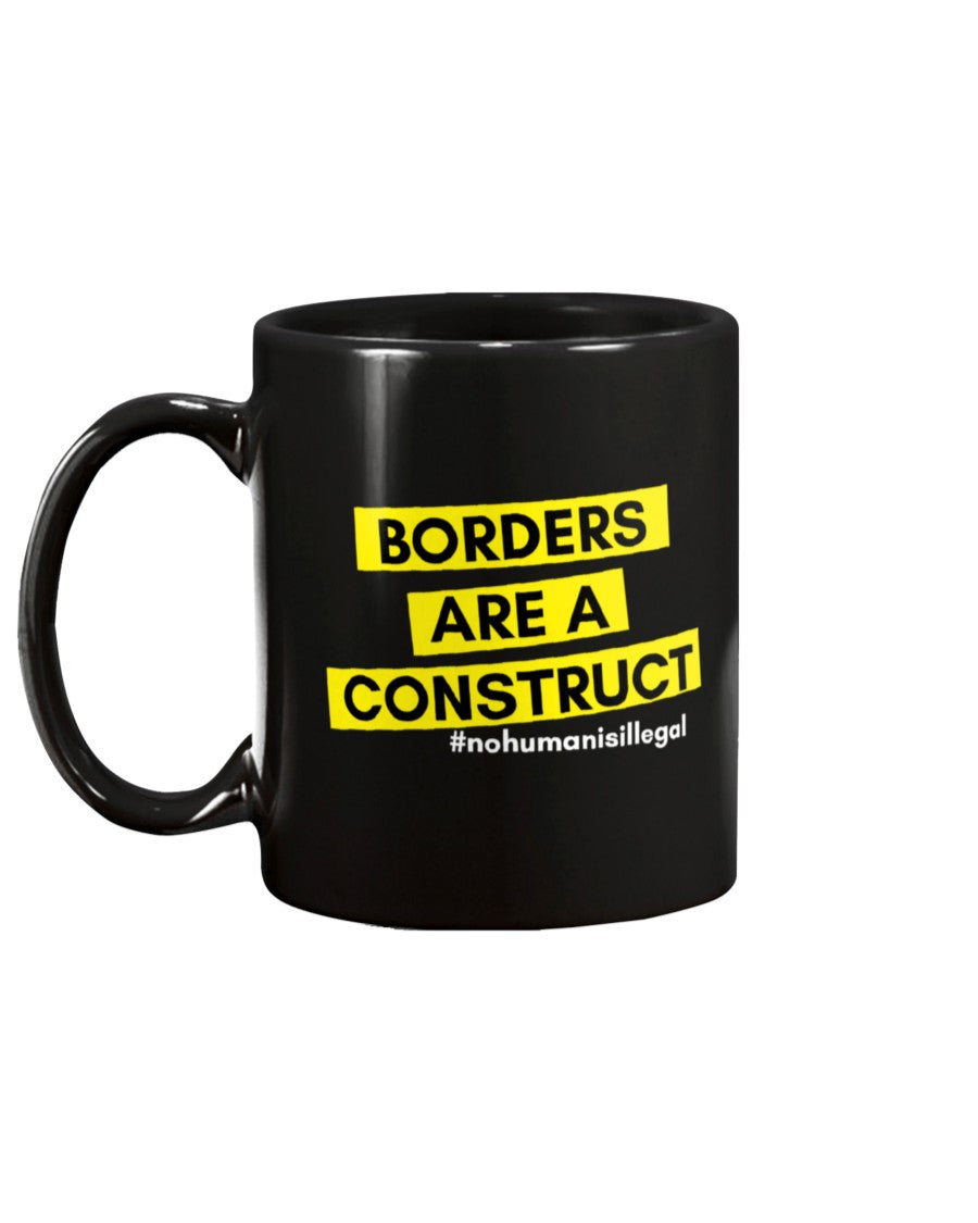 Borders Are A Construct Extra Large Black Mug