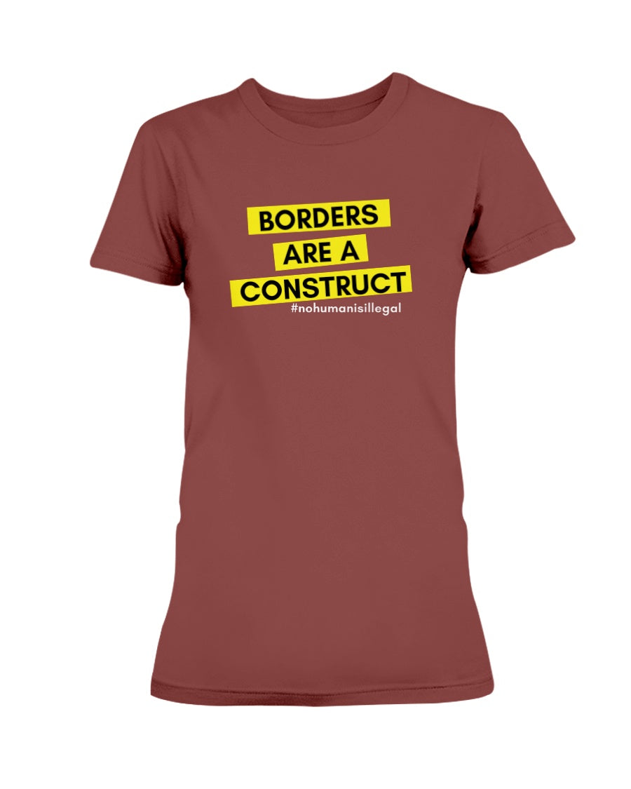 Borders Are A Construct Fitted Short Sleeve T-Shirt