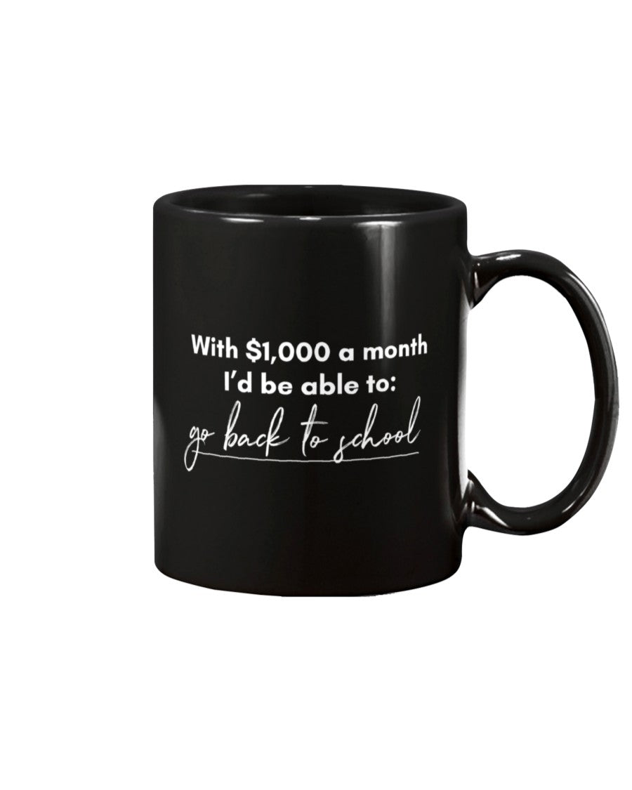 Go Back to School with Universal Basic Income Extra Large Black Mug