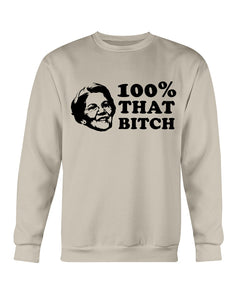 Elizabeth Warren Is 100% That B*tch Classic Fit Crewneck Sweatshirt-Sweatshirts-plussizefor