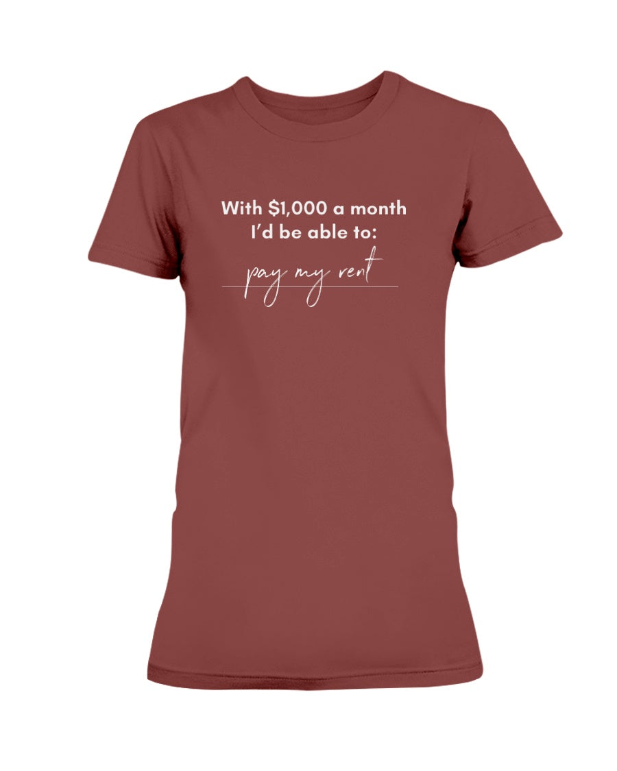 Pay My Rent with Universal Basic Income Fitted Short Sleeve T-Shirt
