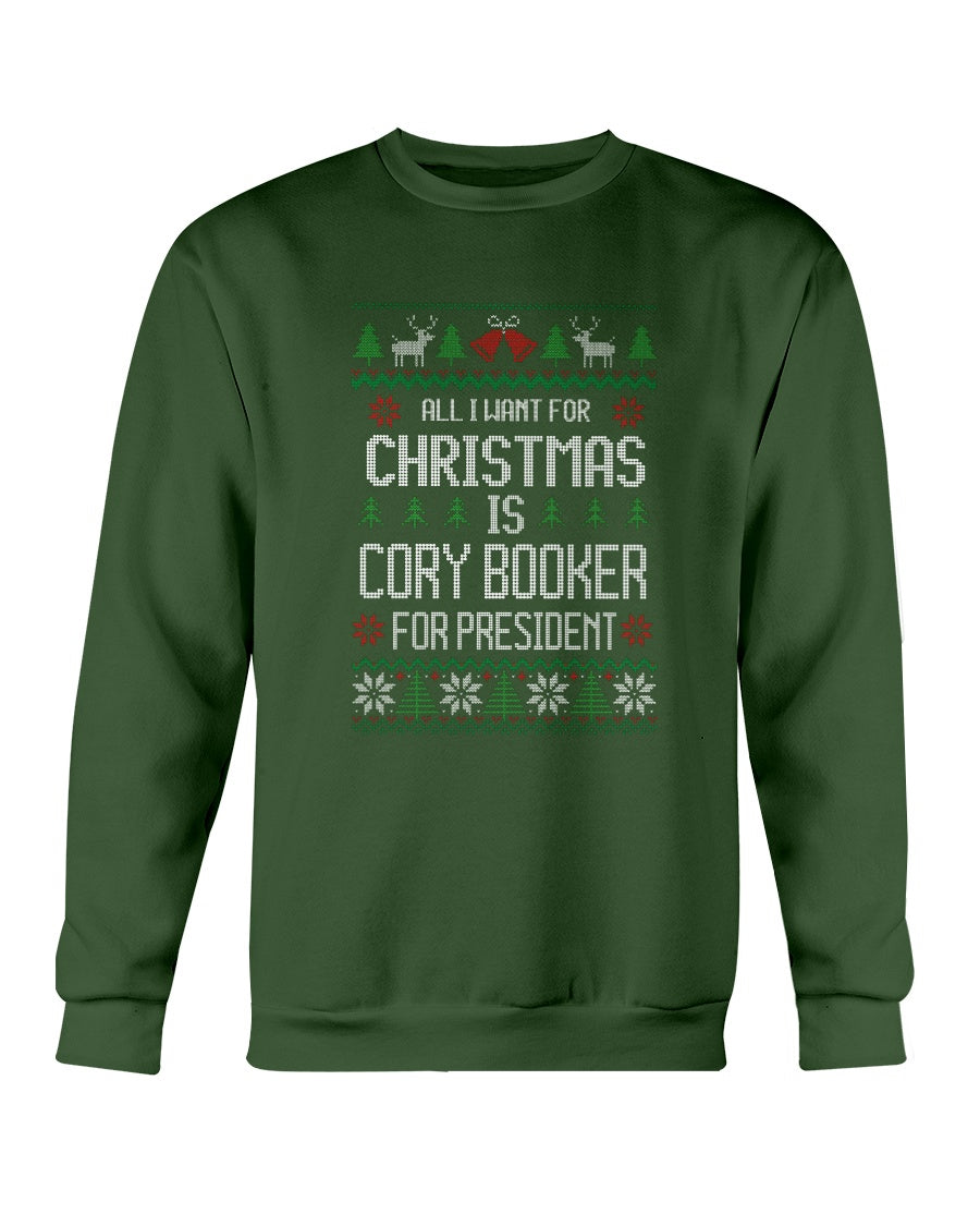 All I Want For Christmas Is Cory Booker Classic Fit Crewneck Sweatshirt