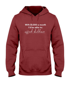 Afford Childcare with Universal Basic Income Classic Fit Pullover Hooded Sweatshirt
