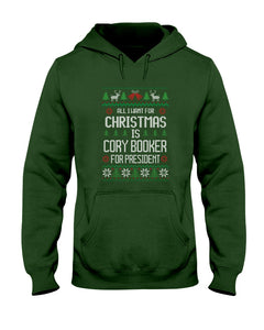 All I Want For Christmas Is Cory Booker Classic Fit Pullover Hooded Sweatshirt