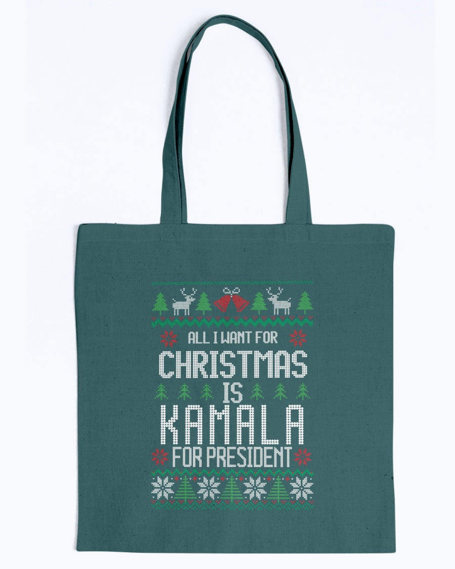 All I Want For Christmas Is Kamala Harris for President Canvas Tote
