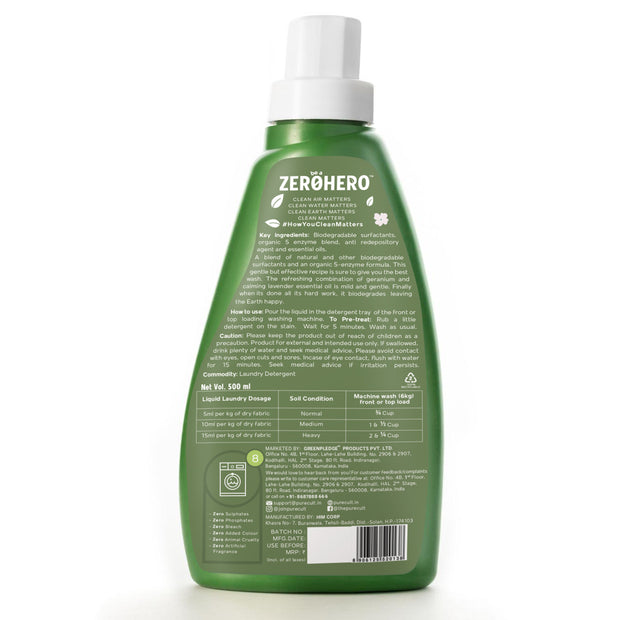 PureCult<sup>®</sup> Eco-Friendly Laundry Detergent With Geranium & Lavender Essential Oil – 500ml