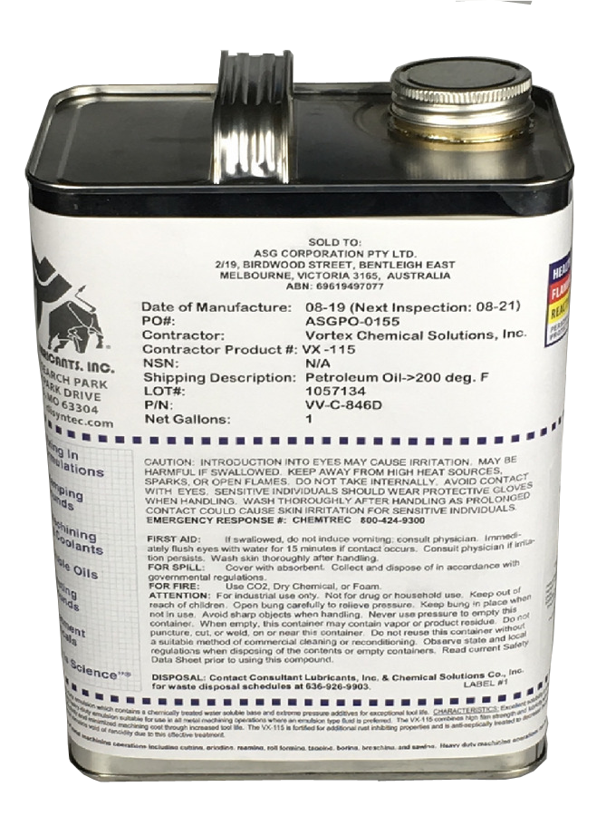 Cutting Fluid VX-115 (VV-C-846) 1 Gallon