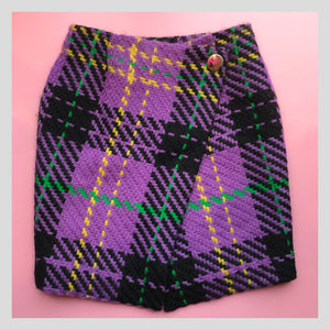 Yuki Torii Purple Knit Wool Wrap Skirt
