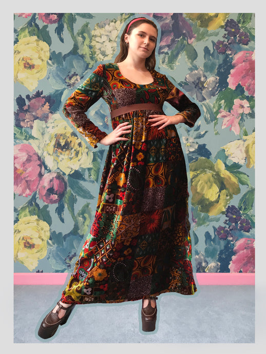Princess-Line Autumnal Patchwork Design Velvet Dress