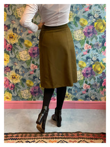 Maison Margiela Khaki Green Wool Skirt