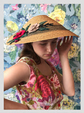 Load image into Gallery viewer, Straw Conical Style Sunhat w/ Felt Flowers