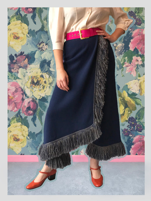Knitted Navy Tasseled Trousers