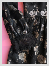 Load image into Gallery viewer, Metallic Silk Brocade Black & Silver Gown