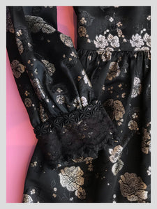 Metallic Silk Brocade Black & Silver Gown
