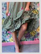 Load image into Gallery viewer, Pinstripe Carnation Cotton Ruffle Dress