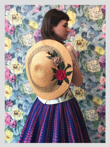 Straw Conical Style Sunhat w/ Felt Flowers