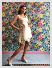 Load image into Gallery viewer, Ivory Satin Scalloped & Beaded Cocktail Dress