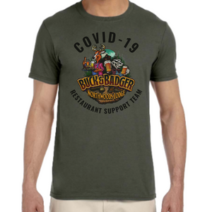 Buck & Badger Covid Support Unisex Soft Cotton T-shirt - Restaurant Support Team Logo