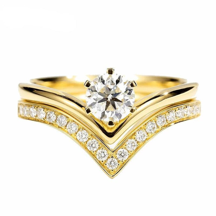 14K Yellow Gold 0.67CT Certified Round Natural Diamonds Ring. Gold/Rose/White Gold