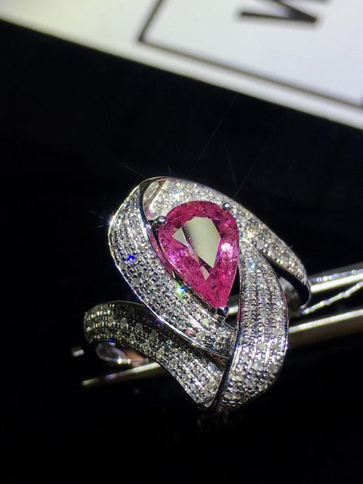 Women's Pink Sapphire Ring, Pure 18 K White Gold. 1.22 ct Diamond Stones .