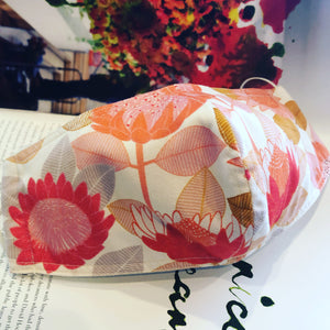 EXCLUSIVE Fabric Face Mask - Orange Pink Flowers