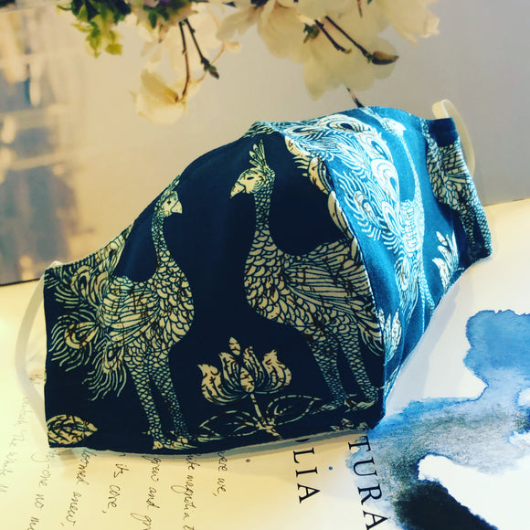EXCLUSIVE Fabric Face Mask - Peacock Blue