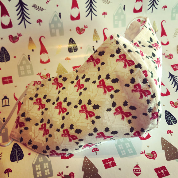 CHRISTMAS Fabric Face Mask - Bows & Bells