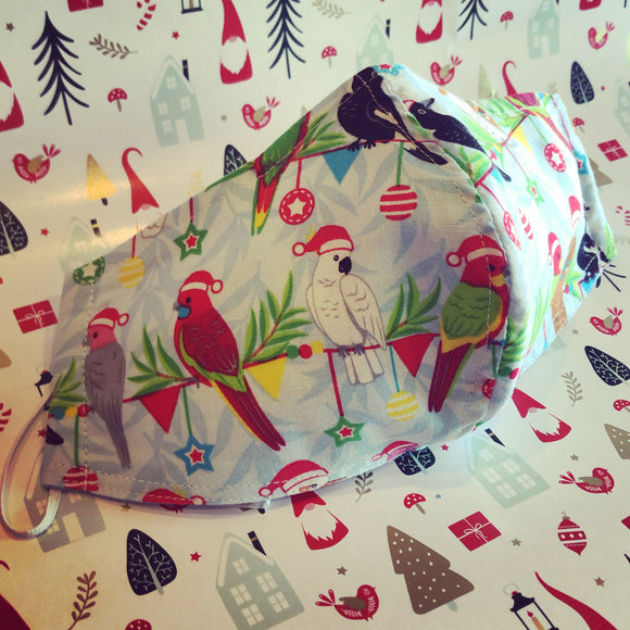 CHRISTMAS Fabric Face Mask - Birdies!