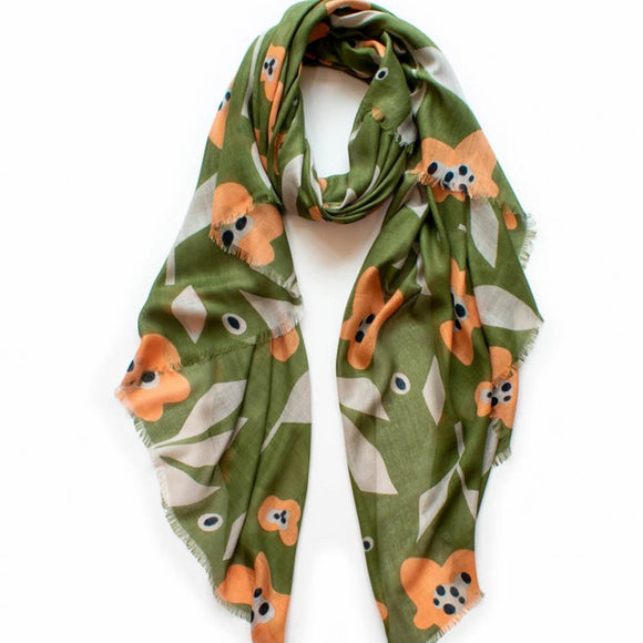Bloom Floral Scarf - Olive