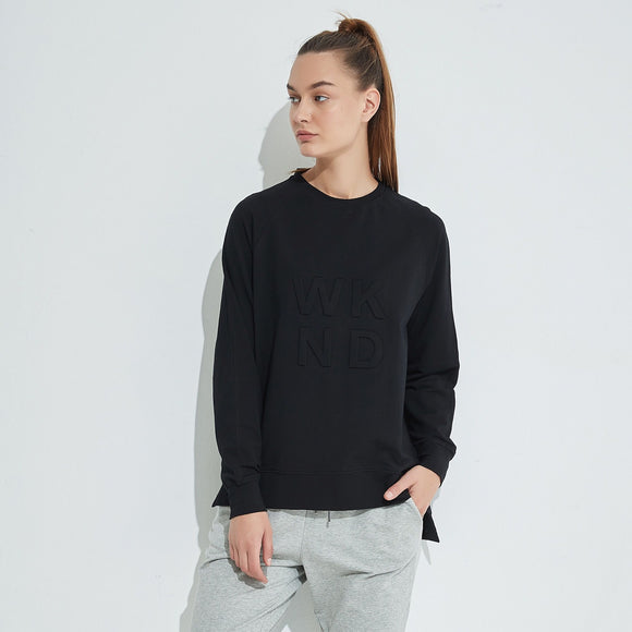 Embossed WKND Sweat - Black