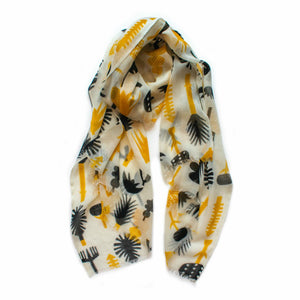 SALE! Indus Design Botanical Scarf - Natural/Mustard/Black