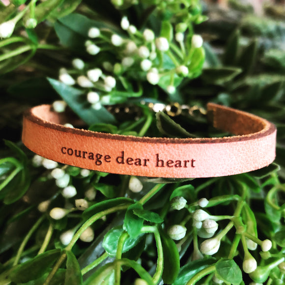 Courage Dear Heart Leather Bracelet
