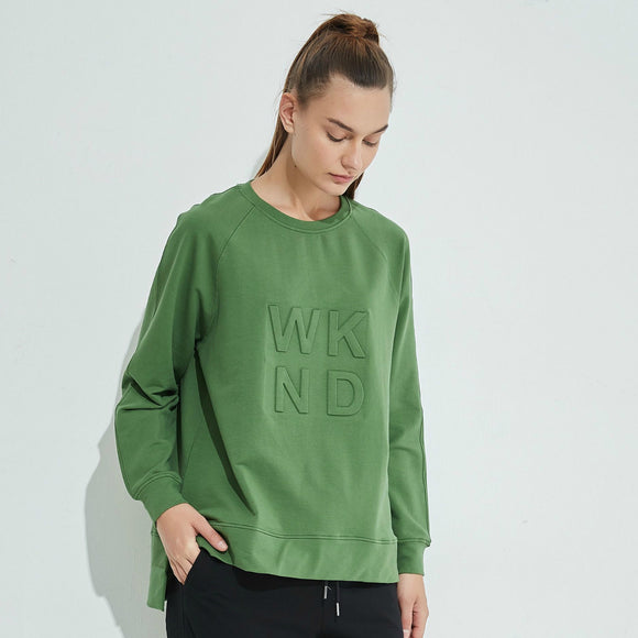 Embossed WKND Sweat - Dark Olive