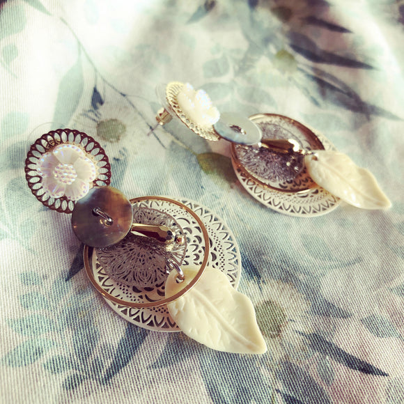 Intricate leaf drop earring