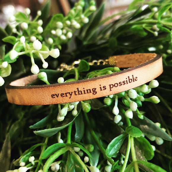 Everything Is Possible Leather Bracelet