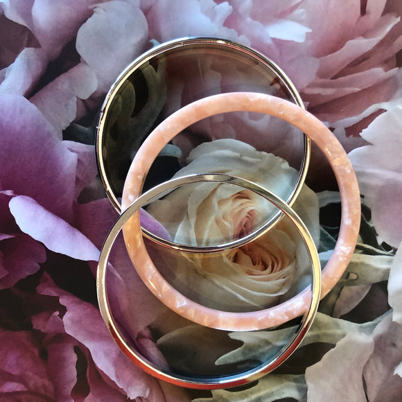 Peach and Silver Bangles - Set of 3