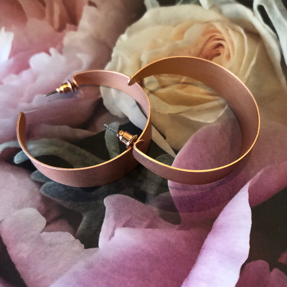 Large Matt Rose Gold Hoop earrings